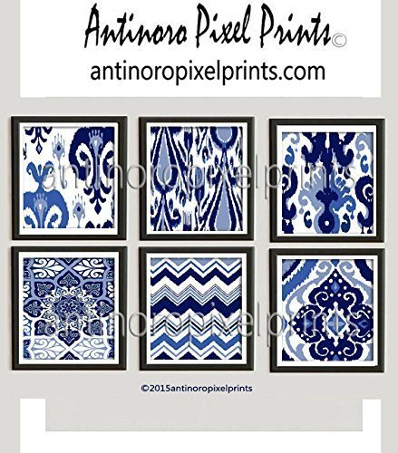Amazon.com: Wall Art Ikat Indigo Prints Damask Navy Blues White ...