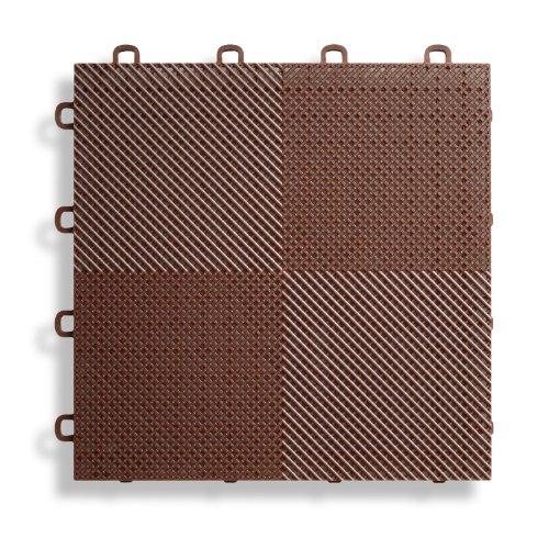 BlockTile B2US5230 Deck And Patio Flooring Interlocking Tiles Perforated  Pack, Brown, 30 Pack