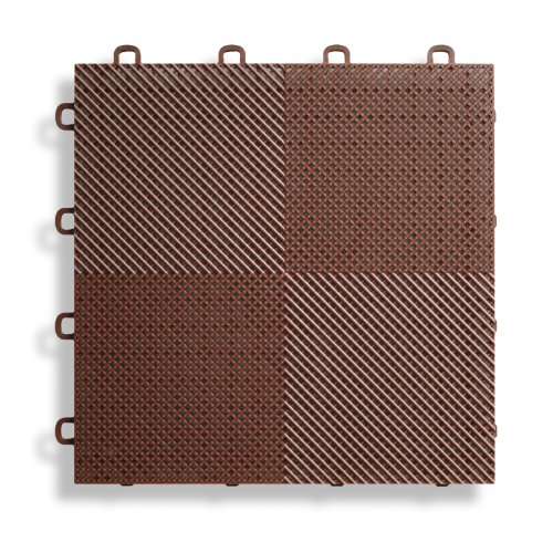 BlockTile B2US5230 Deck and Patio Flooring Interlocking Tiles Perforated Pack, Brown, 30-Pack