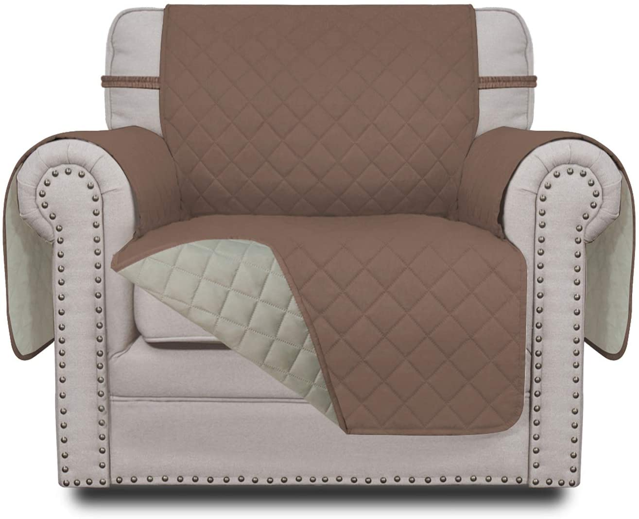 Easy-Going Sofa Slipcover Reversible Chair Cover Water Resistant Couch Cover Furniture Protector with Elastic Straps for Pets Kids Children Dog Cat(Chair,Brown/Beige)