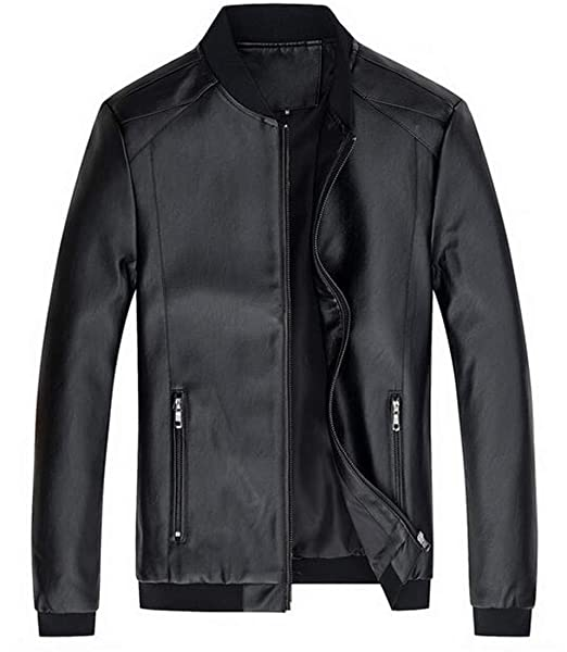 8e1c81f0d3b SELX Men Simple Zip Up Slim Fit Stylish Office Faux Leather Bomber Jacket  Black US XS