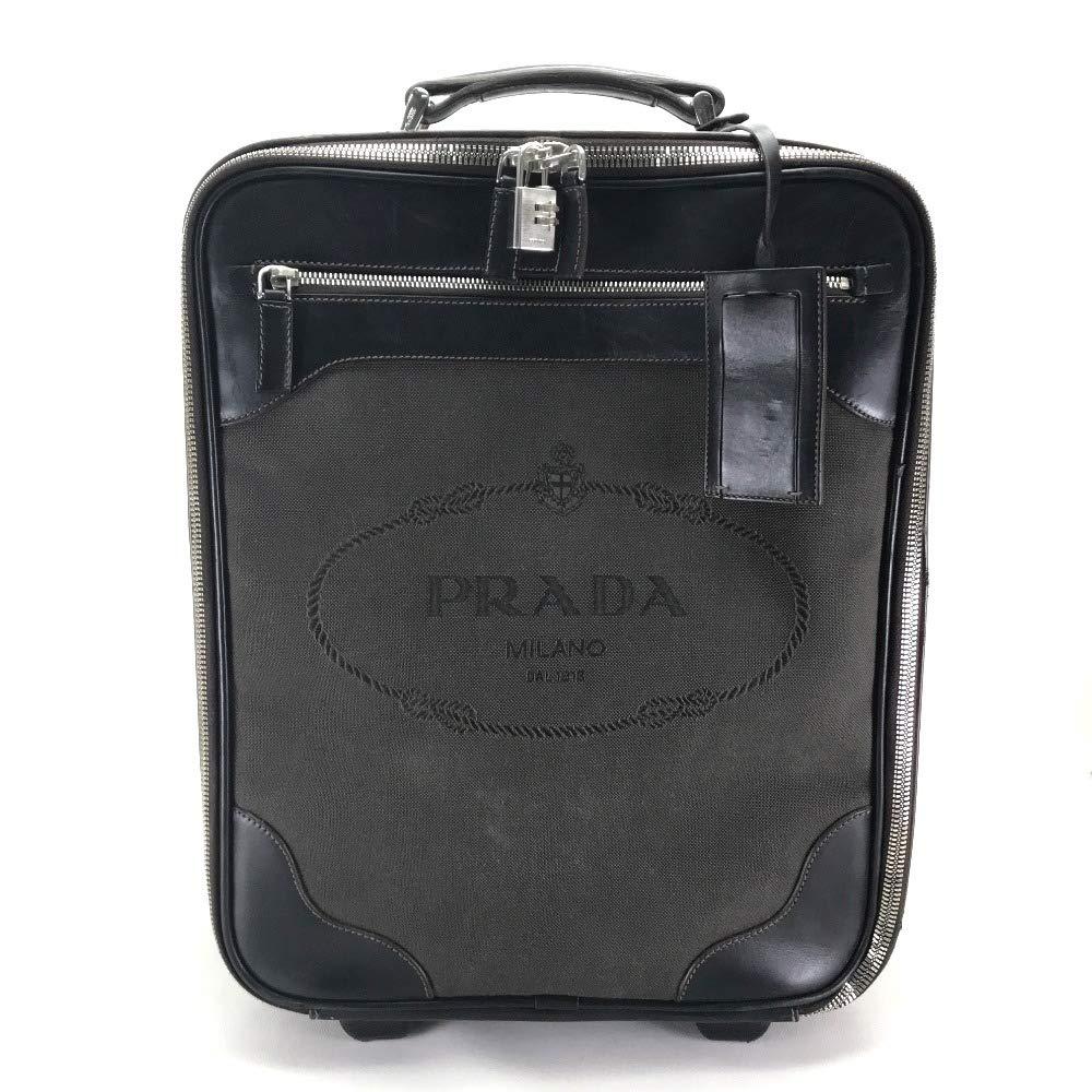 (プラダ)PRADA メンズ レディース ロゴ スーツケース 旅行バッグ キャリーバッグ キャンバス×レザー ユニセックス 中古   B07Q1FZNV7
