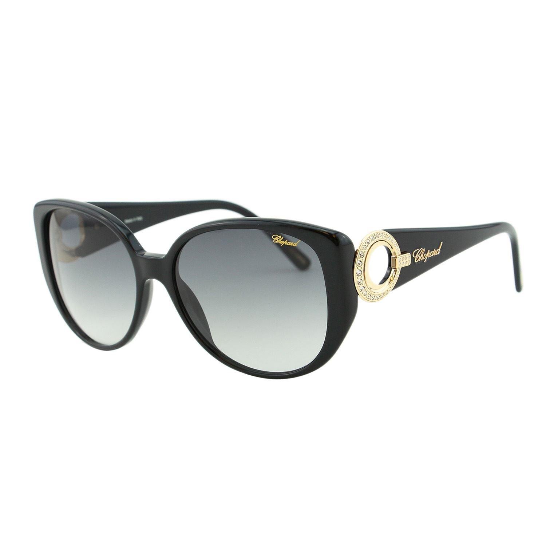 Chopard SCH 107S 700 Women Butterfly Oversized Black & Gold Jeweled Sunglasses