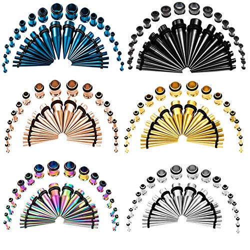 (TBOSEN 36 PCS Colorful Ear Tapers Stretching Kit Stainless Steel Gauges Plugs Tools Set Eyelet 14g-00g)