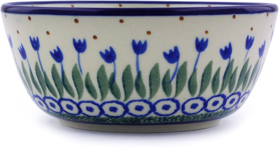 Polish Pottery Bowl 5-inch made by Ceramika Artystyczna Water Tulip Theme