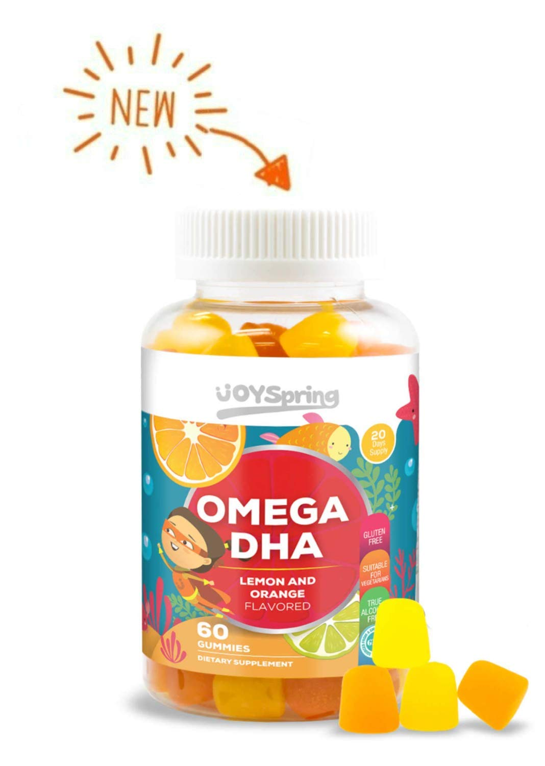 Omega 3 for Kids Gummies - DHA for Kids - Great Tasting Kids Omega 3 Gummies - Gluten Free Brain Food and Speech Support for Toddlers - No Fishy Taste - Made by Parents by JoySpring