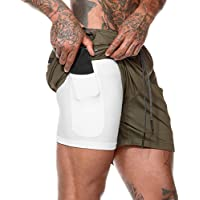 MECH-ENG Men's Workout Running Training 2 in 1 Gym Shorts with Pockets