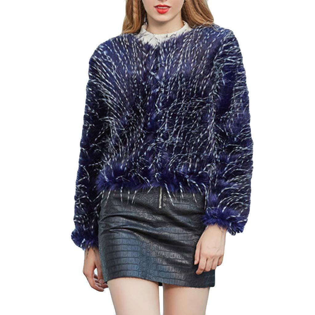 Fashionhe Windbreaker Cardigan Coat Women Outwear Long Sleeves Winter Warm Coat Plush Jacket Overcoat(Blue.M) by Fashionhe