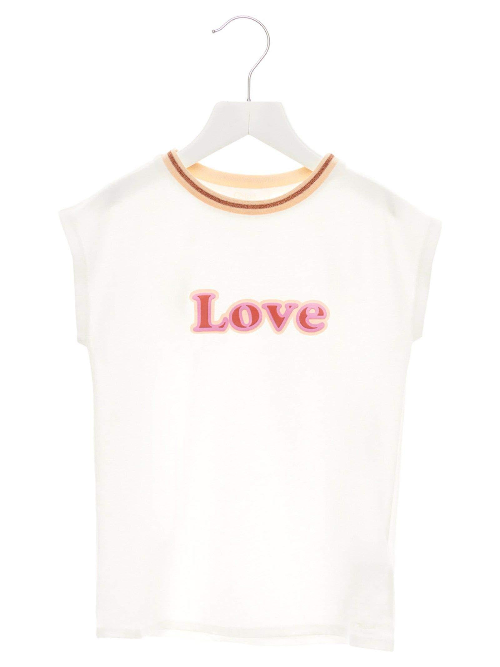 Chloé Girls C15a61117 White Cotton T-Shirt by Chloé (Image #1)