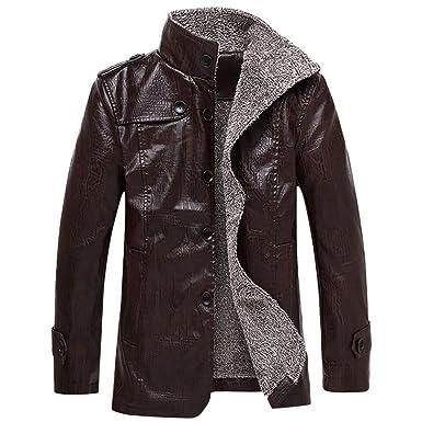 ODJOY-FAN Herren Leder Jacke, Herbst Winter Tasche Outwear Stand Halsband  Nachahmung Leder Mantel Plus SAMT Verdicken Outerwear Freizeit Leder  Kleidung ... 4b6987dbe4