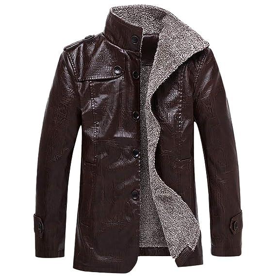 ... Acolchado de Terciopelo de Invierno más Hombre Chaqueta de Hombre Otoño Invierno Bolsillo Outwear Cuello Alto Abrigo de Cuero de imitación: Amazon.es: ...