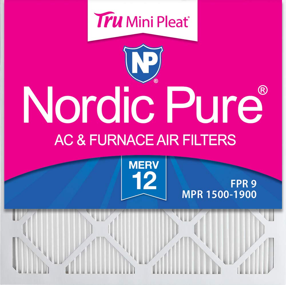 Nordic Pure 24x24x1 MERV 12 Tru Mini Pleat AC Furnace Air Filters 3 Pack
