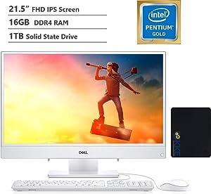 "2020 Dell Inspiron 22 All-in-One Desktop Computer 21.5"" FHD IPS Display,Intel Pentium Gold Processor 5405U, 16GB DDR4 RAM, 1TB SSD, HDMI, Wireless-AC, Bluetooth, KKE Mousepad Bundle, Win10"