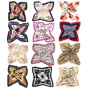 Vbiger Sciarpa in Raso Quadrato Sciarpa di Seta per Donna, set di 12