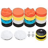 TEUN Kit de Almohadilla de Pulido para Taladro de Espuma para automóvil 22 PCS, Almohadillas de Pulido de 3 Pulgadas