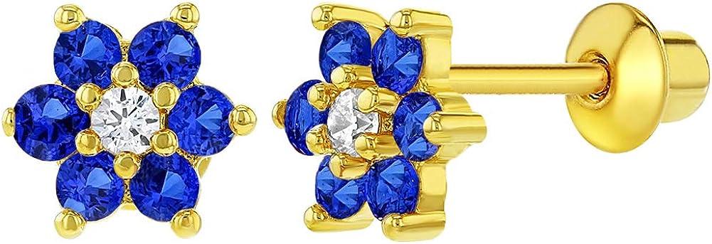 14 K chapado en oro azul marino y diseño de flores de cristal de transparente niños Juego de pendientes de diseño de tornillo