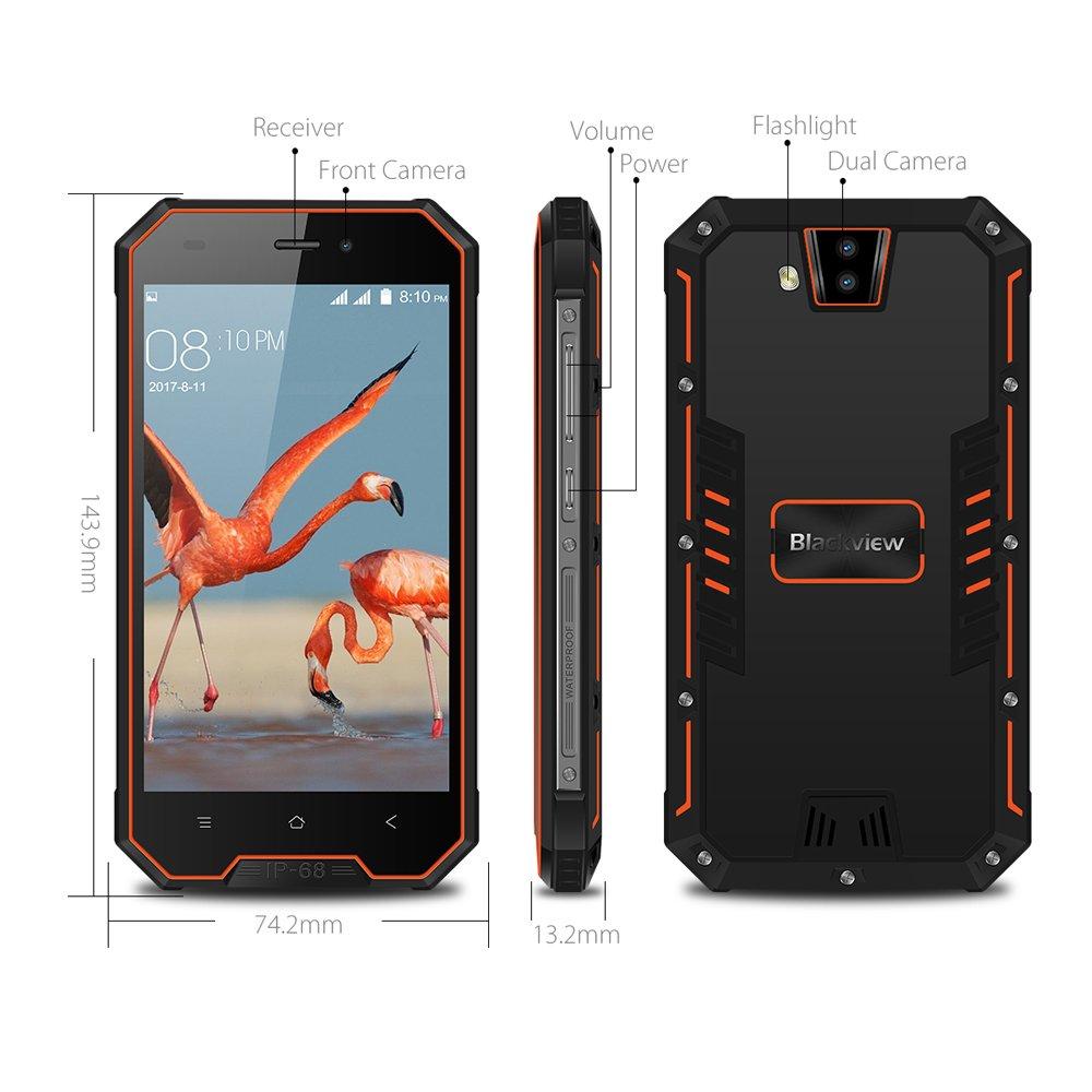 Blackview Telefonos Resistentes, BV4000 Pro Móvil Antigolpes, 2GB + 16GB 4.7