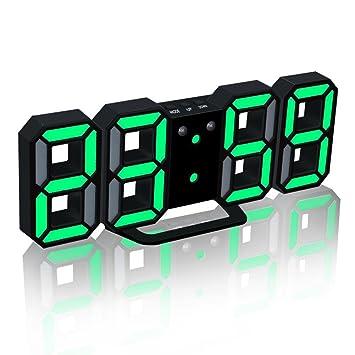HEDDK Despertador LED Extra Brillante FáCil De Leer 3 Niveles De Brillo Ajustable - Powered by USB - Reloj De Escritorio Digital/Reloj De Pared, ...