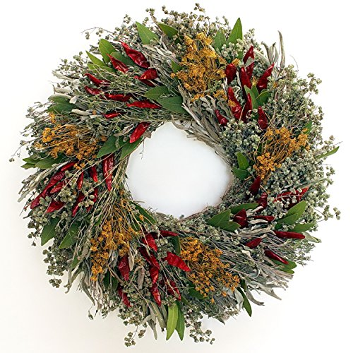 Chili Herb Natural Dried and Preserved Wreath (16''') by In the Garden and More