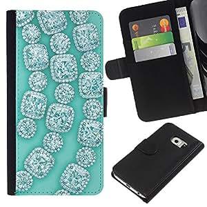 iBinBang / Flip Funda de Cuero Case Cover - Gemstones Gems Green Bling - Samsung Galaxy S6 EDGE SM-G925