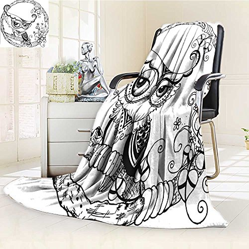 YOYI-HOME Soft Warm Cozy Throw Duplex Printed Blanket Black Bird with Heart Shaped Leaves Circular Embellished Ink Doodle Black White Fuzzy Blanket s for Bed or Couch/W59 x H79 (Ink Heart Miami Black)
