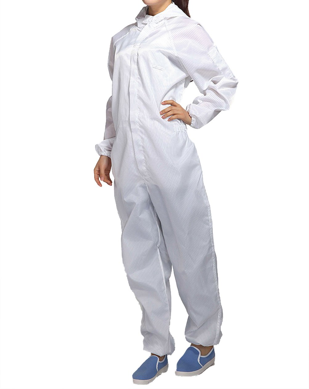 ESD Lab Zip Up Hooded Anti Static Jumpsuit Coverall Uniform Spray Paint Work Clothes (Size XL, White)
