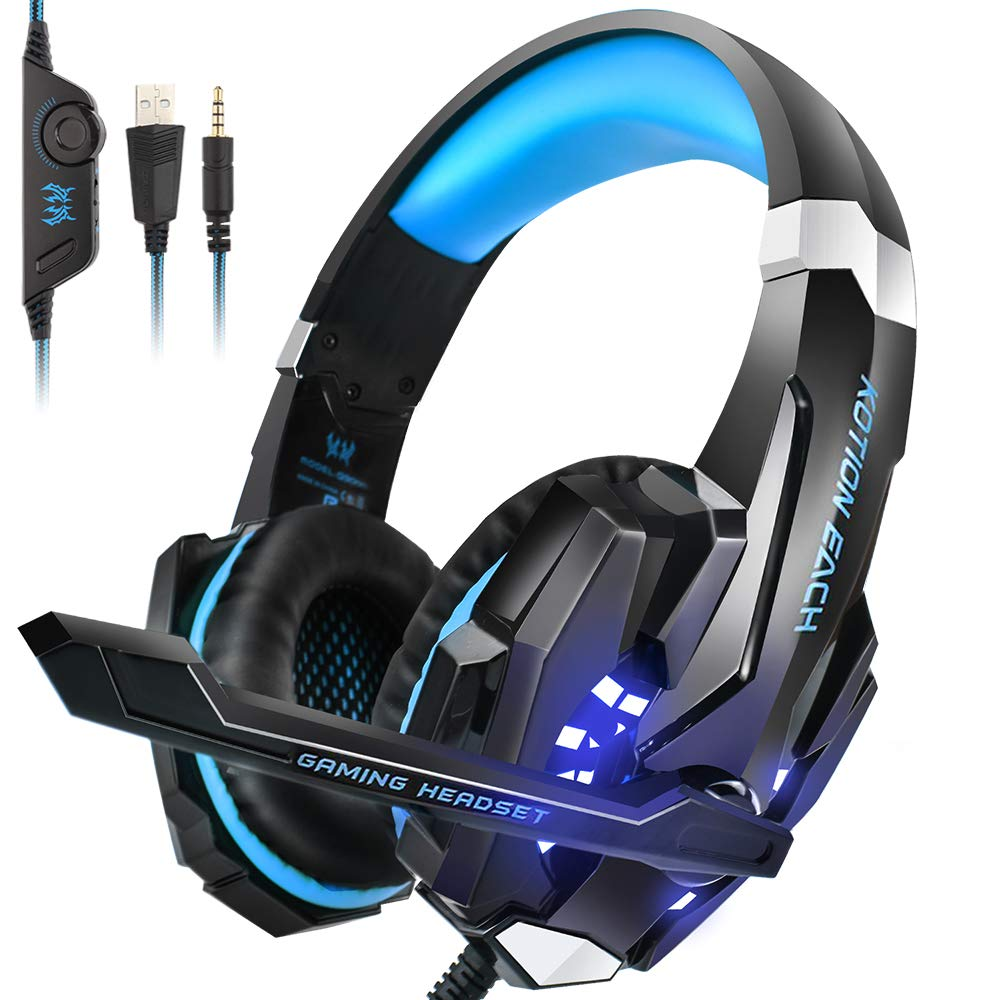 Gaming Headset INSMART PS4 Headset for Xbox One, PC, Enhanced Surround Sound, Updated Noise Cancelling Mic Headphones, Soft Breathing Earmuffs, Mute Volume Control for Nintendo Switch Laptop