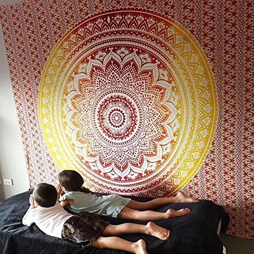 Jaipur Handloom Orange Tapestry Twin Ombre Tapestry Wall Hanging Hippie Wall Tapestries Ombre Bedding Dorm Decor Mandala Tapestry Indian Mandala Wall Art Bohemian Bedspread