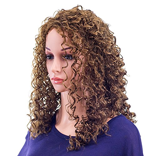 SWACC 20-Inch Long Big Bouffant Curly Wigs for Women Synthetic Heat Resistant Fiber Hair Pieces with Wig Cap (Light Dirty Brown-12#)]()