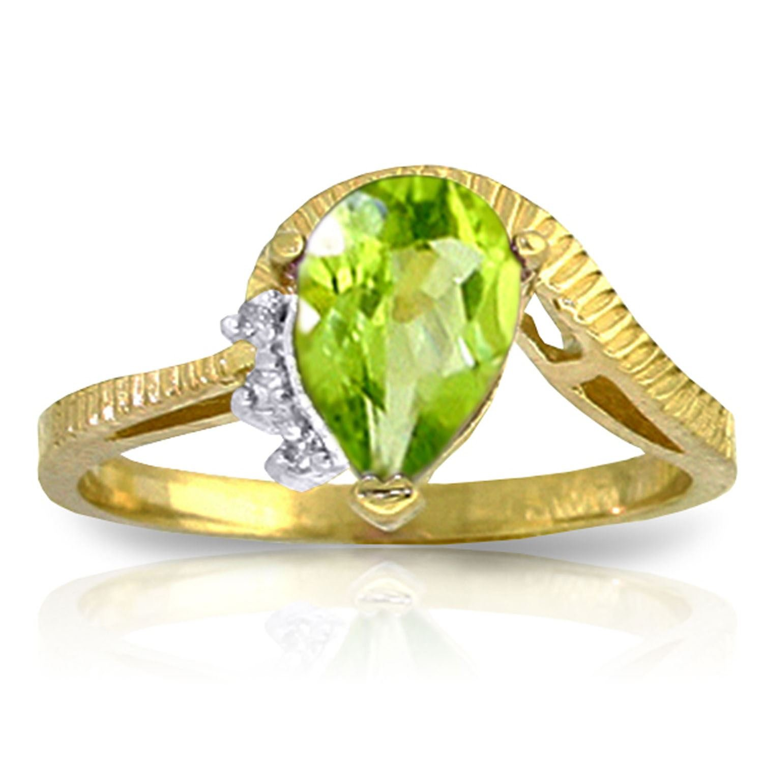 ALARRI 1.52 CTW 14K Solid Gold Love Stems Peridot Diamond Ring With Ring Size 8.5