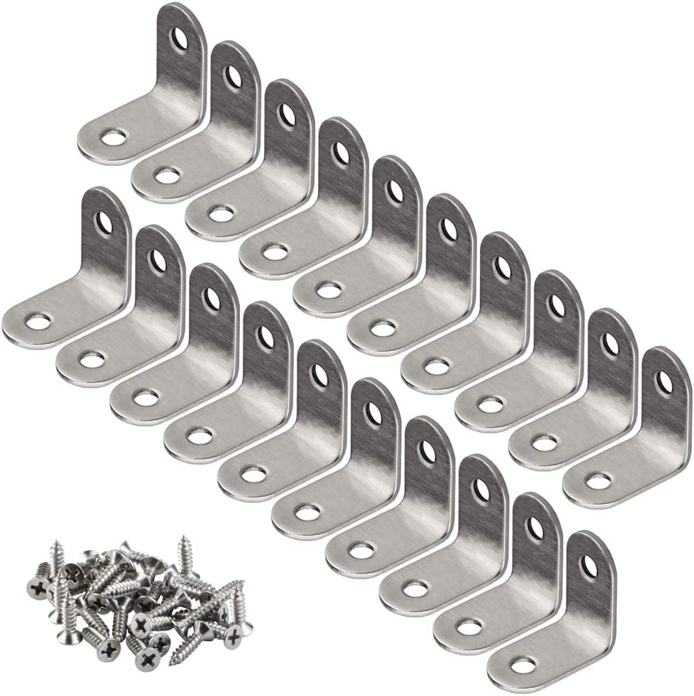 YEWLACA 20 PCS Corner Brace Angle Brackets 30mm x 30mm Stainless Steel 90 Degree Joints L Shaped Corner Brackets Fastener for Wood Furniture, Screws Included