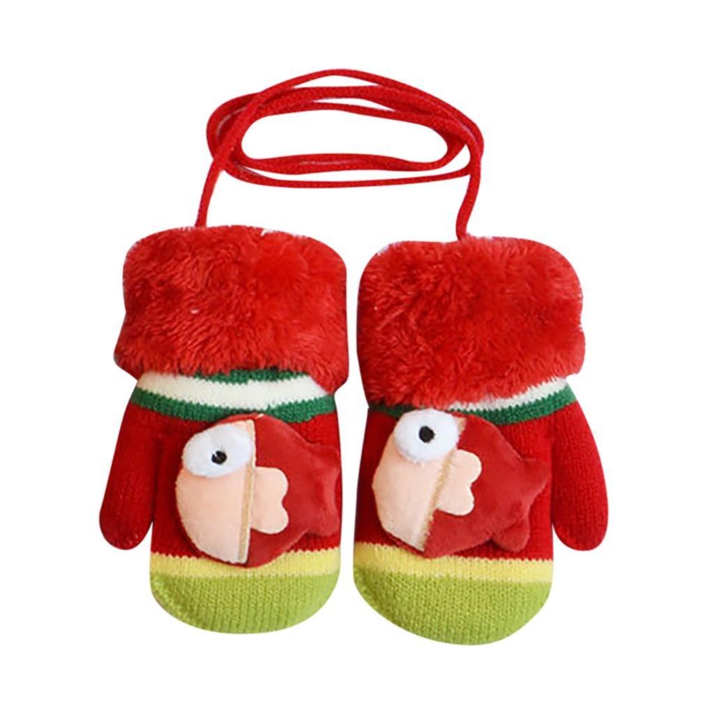 sunnymi for 1-3 Years Old Kids Fashion Cute Newborn Infant Toddler Baby Girls Boys Cartoon Gloves Winter Warm Thicken Full Finger Glove