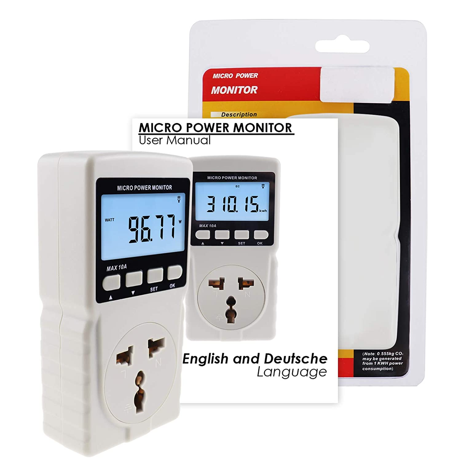 Plug-in Socket Design Power Meter Energy Watt Voltage Current Frequency Electricity Usage Monitor