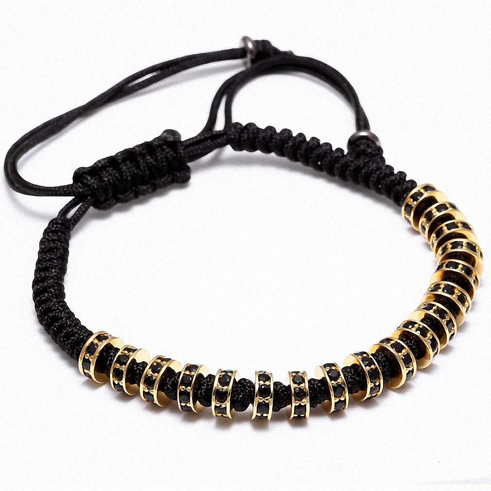 Hynsin Womens Bracelet Men Bracelets Beaded Weaving Fastness Micro Inlay Zircon CZ 7mm Stoppers Beads Braiding Macrame