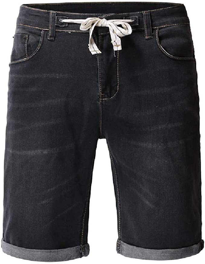 Nicellyer Men's With Pocket Cowboy Drawstring Washed Ombre Stylish Jean Short Pant