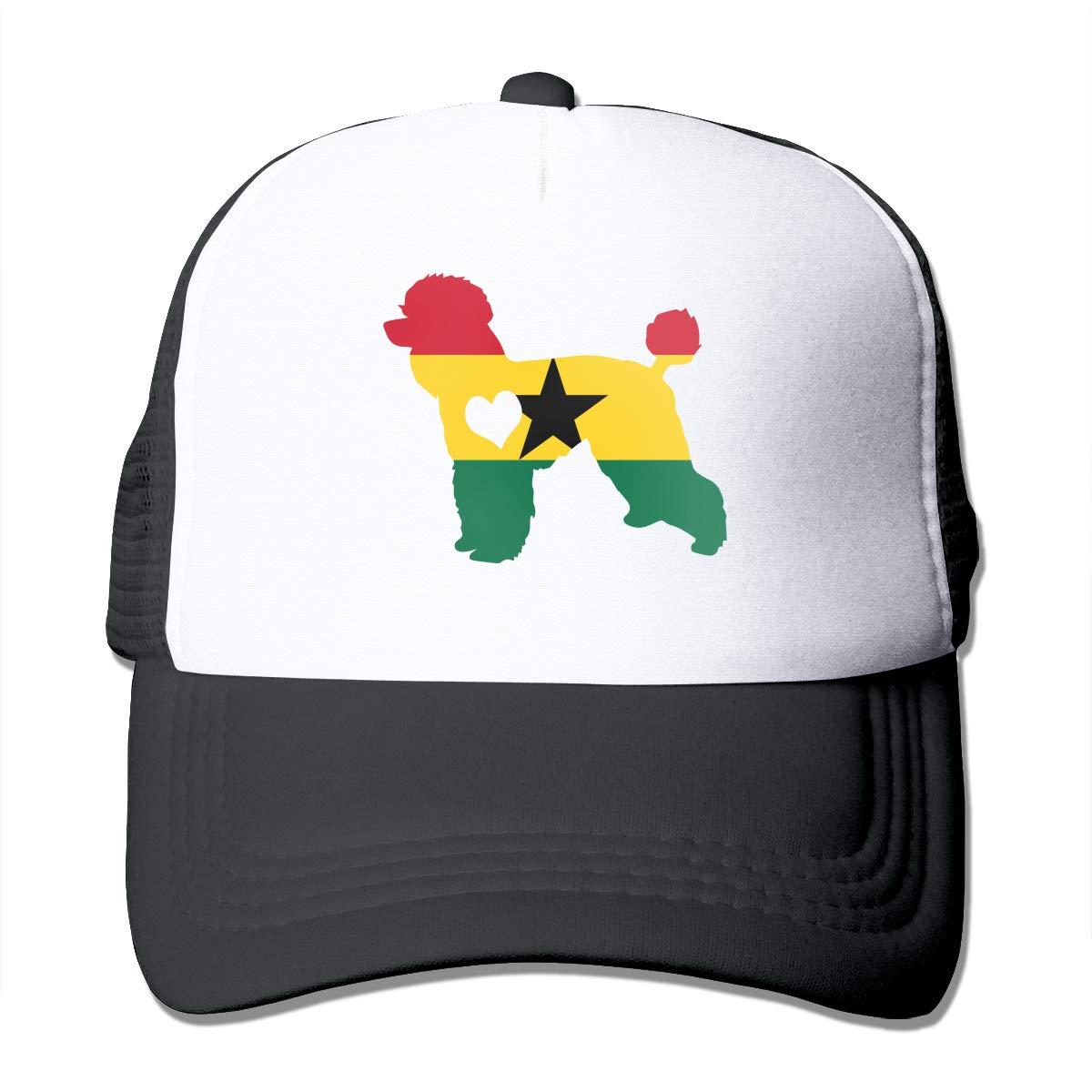 GFDHERW236 Poodle Dog Heart Ghana Flag Trucker Hip-hop Cap Adjustable Outdoors