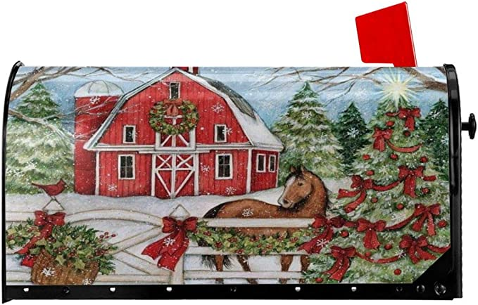 Animated Country Christmas Horse Personalized Mail Wrap Mailbox Makeover Cover Fits Standard 6.5 x 19 Mailboxes Winter Christmas Animals Magnetic Mailbox Cover Weatherproof Vinyl
