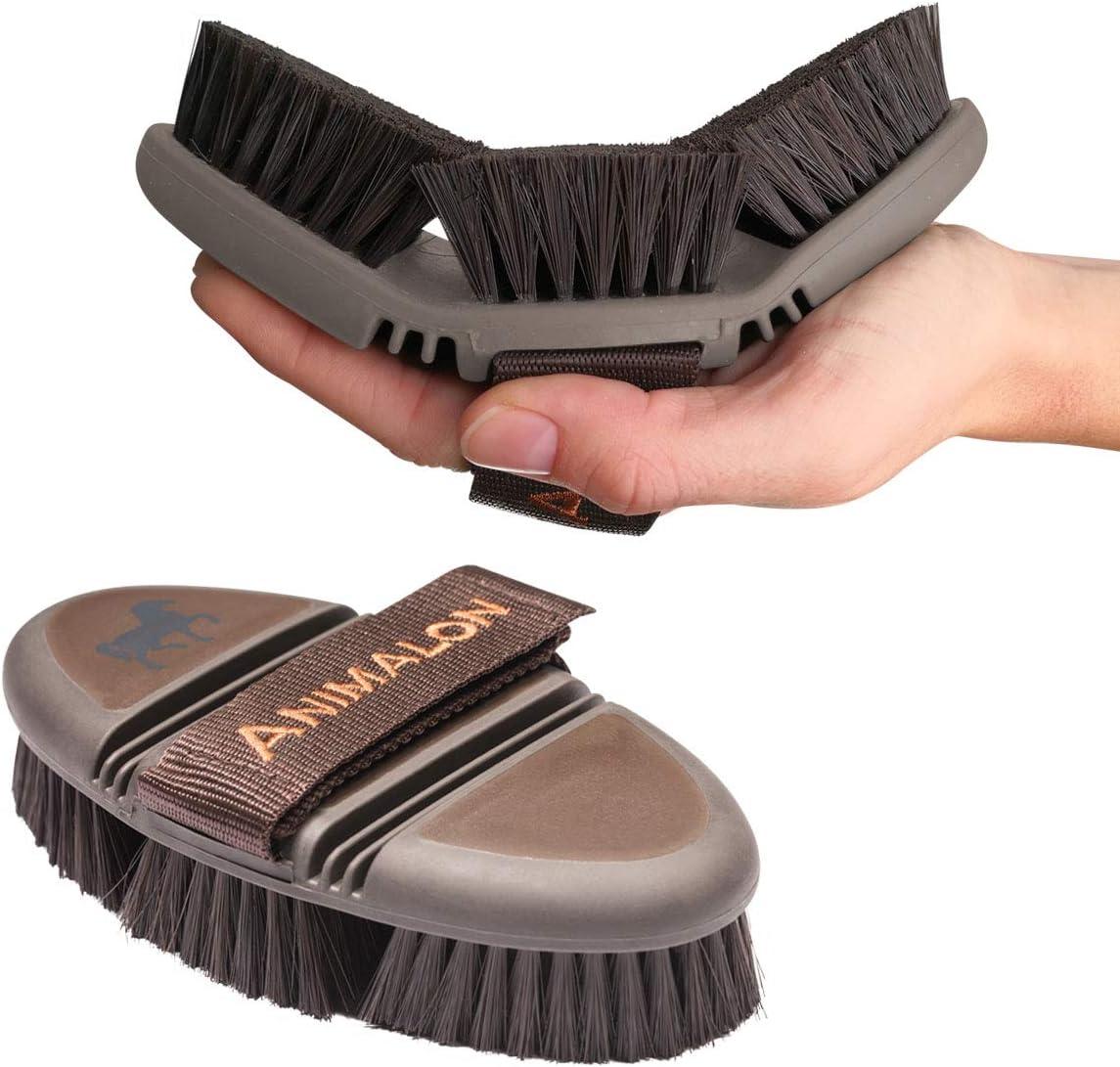 Animalon CareFlex - Cepillo para caballos flexible y ergonómico, con cierre de velcro para todos los caballos caja de limpieza para caballos