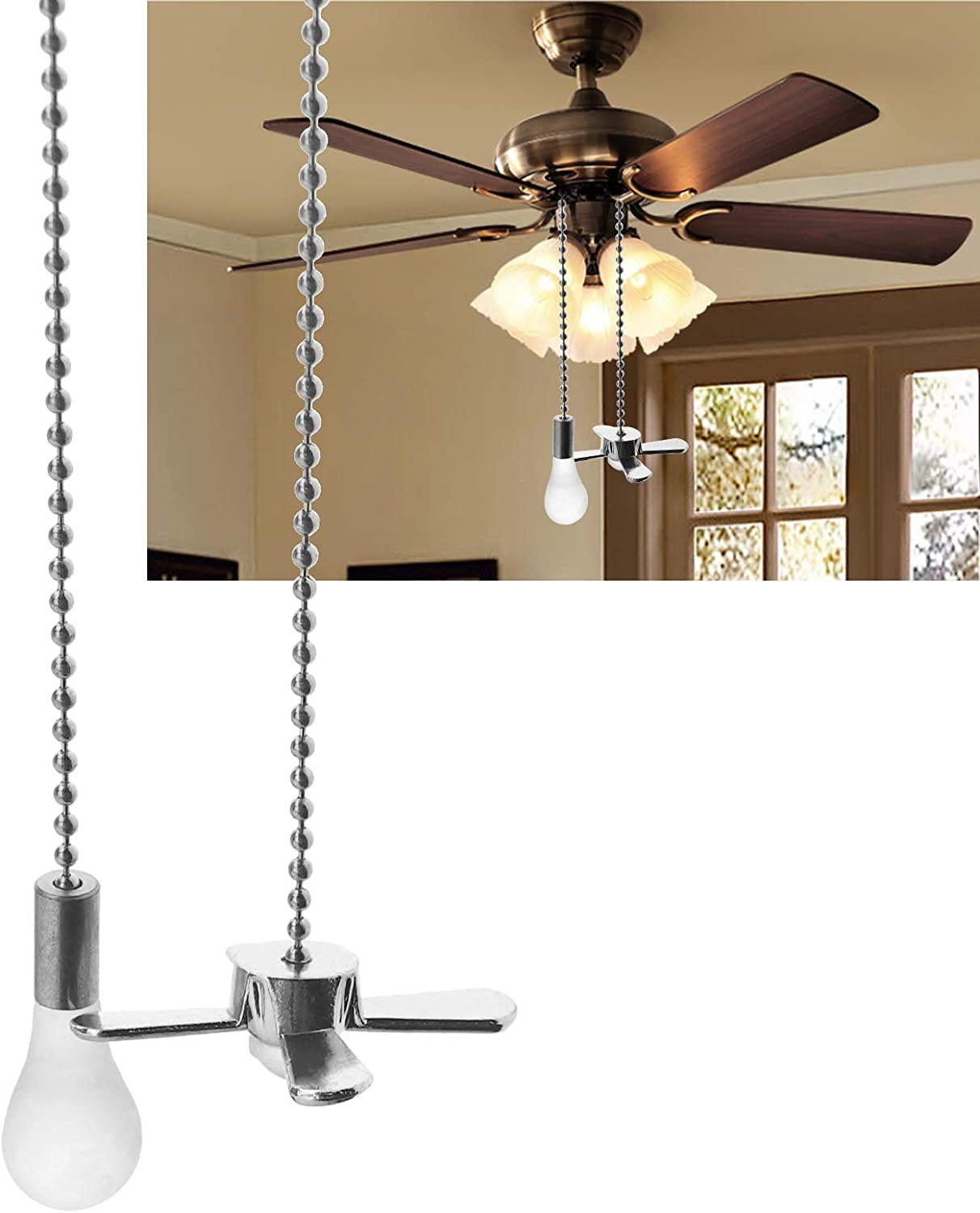 YINETTECH 2pcs Metal Beaded Pull Chain Ball 30CM Chain Extension with Mini Fan Bulb Pendant For Ceiling Fans Lights Gold