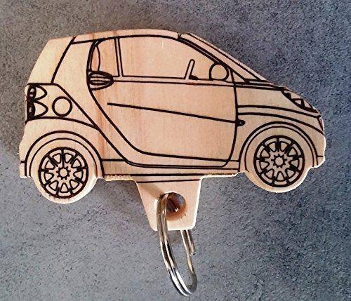 Portachiave AUTOMOBILE SMART in legno PORTACHIAVI auto Idea regalo originale
