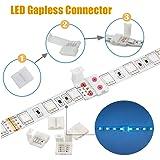5050 LED Strip 4pin Connectors Kit- Includes 32.8FT Extension Cable, 5X T Connectors,10x L Connectors,10x Gapless Connectors,10x Strip to Strip Jumpers,3X Strip to Wire Quick Connectors,20x Fix Clips