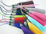 10pcs 3.6''(9.0cm) Soft Silk Tassels for Jewelry with Hollowed Antique Silver Cap and Jade Beads (Mixed Ramdonly)