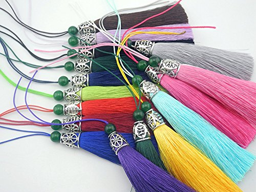 (10pcs 3.6''(9.0cm) Soft Silk Tassels for Jewelry with Hollowed Antique Silver Cap and Jade Beads (Mixed Ramdonly))