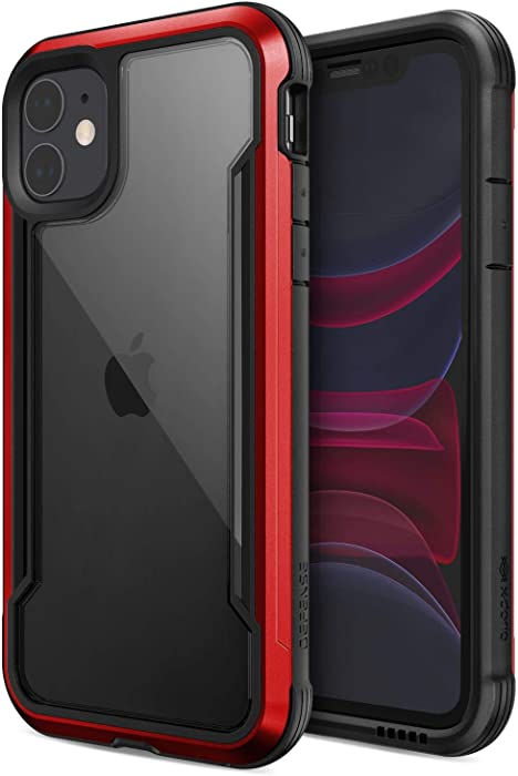 Defense Shield, iPhone 11 Pro Max Case - Military Grade Drop Tested, Anodized Aluminum, TPU, and Polycarbonate Protective Case for Apple iPhone 11 Pro Max, (Red)