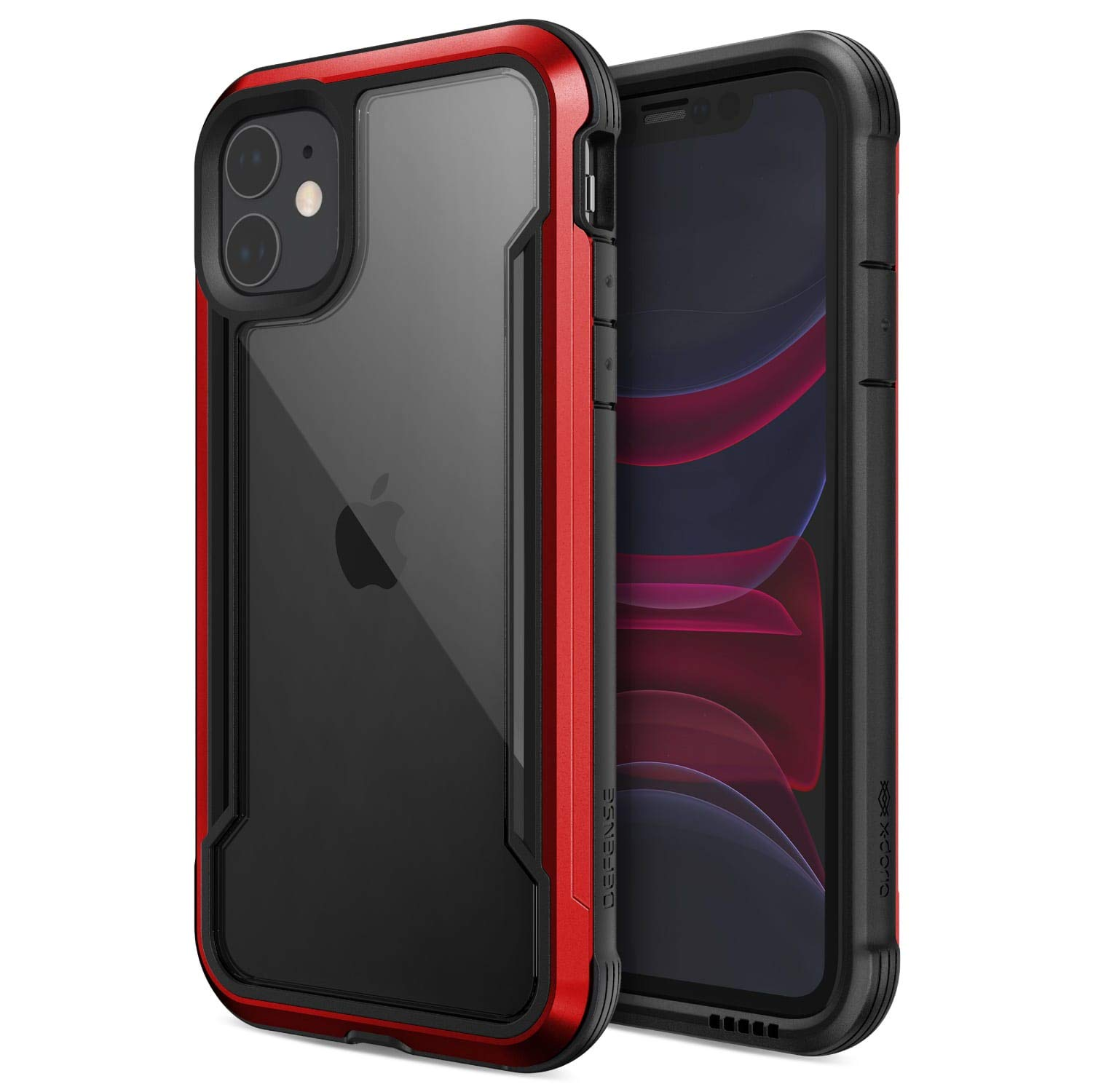 Defense Shield Series, iPhone 11 Case - Military Grade Drop Tested, Anodized Aluminum, TPU, and Polycarbonate Protective Case for Apple iPhone 11, (Red) by X-Doria