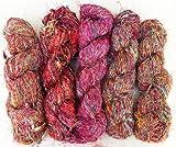 Yarn Place 5 LARGE Skeins 2 lb Himalaya Recycled Sari Silk Yarn Hippie Color Handspun