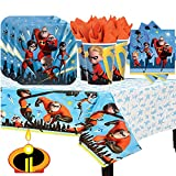 Incredibles 2 Birthday Party Pack for 16 with Plates, Napkins, Cups, Tablecover, and Candle!