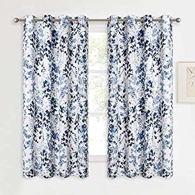 """KGORGE Printed Blackout Curtains with Pattern - Sunlight/UV Ray Reducing Grommet Top Window Draperies, Elegant Watercolor Foliage Patterned Art Gallery/Salon Decoration (Blue, W52 x L63, 2 Pcs) - READY MADE: Sold in pair, KGORGE Printed Blackout Curtains measure 52"""" wide by 63"""" long per panel. 8 silver grommet top fit any standard or decorative curtain rods up to 1.5"""". Easy and convenient to hang as soon as you receive it. WATERCOLOR PAINTING: The vivid foliage pattern on white background gives the curtain an exclusive look with natural and exuberant sense. The watercolor gradient-blue is just perfect, lending artistic sophisticated feeling to your rooms. ROOM DARKENING: Providing 80%-95% sunlight/UV ray blocking, the curtains serve well for night shift workers and late sleepers. It also can fulfill your different needs like temperature balance, noise reduction and privacy protection... - living-room-soft-furnishings, living-room, draperies-curtains-shades - 61lXyx8h lL. SS400  -"""
