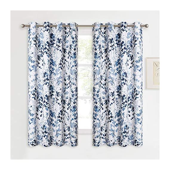 "KGORGE Printed Blackout Curtains with Pattern - Sunlight/UV Ray Reducing Grommet Top Window Draperies, Elegant Watercolor Foliage Patterned Art Gallery/Salon Decoration (Blue, W52 x L63, 2 Pcs) - READY MADE: Sold in pair, KGORGE Printed Blackout Curtains measure 52"" wide by 63"" long per panel. 8 silver grommet top fit any standard or decorative curtain rods up to 1.5"". Easy and convenient to hang as soon as you receive it. WATERCOLOR PAINTING: The vivid foliage pattern on white background gives the curtain an exclusive look with natural and exuberant sense. The watercolor gradient-blue is just perfect, lending artistic sophisticated feeling to your rooms. ROOM DARKENING: Providing 80%-95% sunlight/UV ray blocking, the curtains serve well for night shift workers and late sleepers. It also can fulfill your different needs like temperature balance, noise reduction and privacy protection... - living-room-soft-furnishings, living-room, draperies-curtains-shades - 61lXyx8h lL. SS570  -"