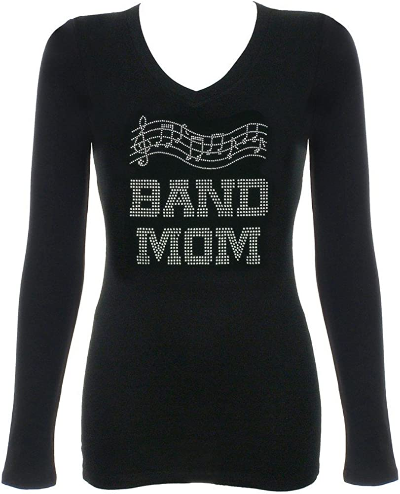 "Women/'s Rhinestone T-Shirt /"" Band Mom /"" in S M Music Notes L 3X XL 2X"